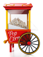 Vintage popcorn cart isolated on white background. 3D illustration