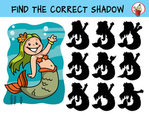 Cute little mermaid. Find the correct shadow. Educational matching game for children. Cartoon vector illustration