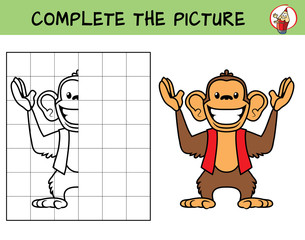 Complete the picture of a funny monkey. Copy the picture. Coloring book. Educational game for children. Cartoon vector illustration
