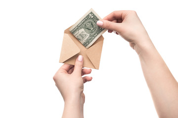 An envelope with money in hand, isolated