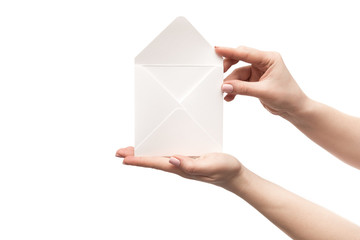 A female hands holding mail envelope
