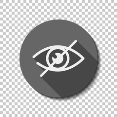 dont look, crossed out eye. simple icon. White flat icon with lo
