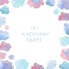Square frame with watercolor clouds. Greeting card template isolated on white background.