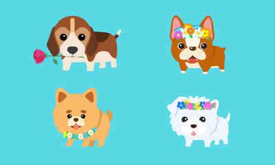 Vector cute puppy with a variety of colorful flowers