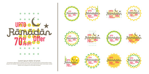 Ramadan sale offer banner set design. Promotion poster, voucher, discount, label, greeting card of Ramadan Kareem and Eid Mubarak celebration. background vector illustration