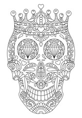 hand drawn mexican Skull wearing crown. Flowers Patterns on the face as isolated vector file