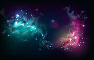 Abstract open space background. Starfield, universe, nebula in galaxy. Vector illustration