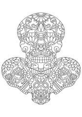 hand drawn mexican sugar skulls with pattern on the face as isolated vector file