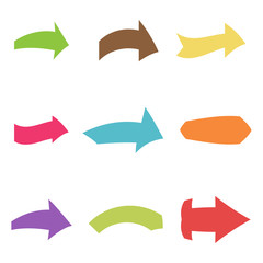 Set of nine multicolored various arrows. Vector illustration