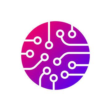 Circuit board icon vector. Colorful logo