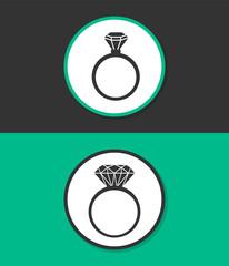 Diamond ring vector icon.