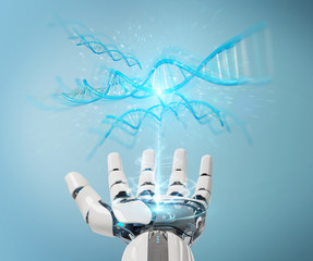 White cyborg hand scanning human DNA 3D rendering