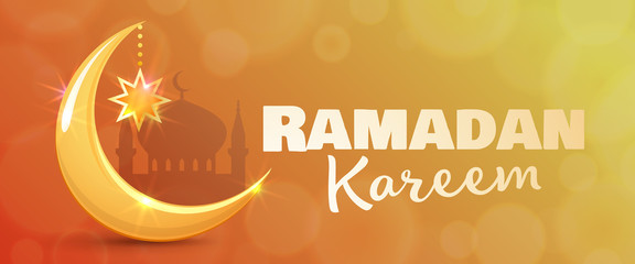 Ramadan Kareem greeting card. Islamic golden crescent moon and star. Horizontal banner for muslim holy month Ramadan. Vector