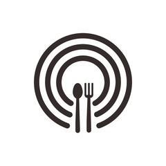 restaurant logo. spoon and fork icon. symbol. vector eps 08.