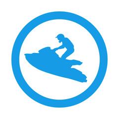 Garden Poster Water Motor sports Icono plano silueta moto acuatica en circulo azul