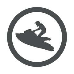 Recess Fitting Water Motor sports Icono plano silueta moto acuatica en circulo gris