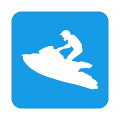 Poster Nautique motorise Icono plano silueta moto acuatica en cuadrado azul