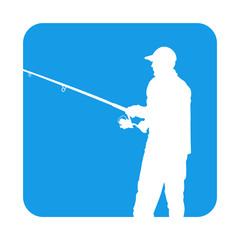 Icono plano silueta pescador en cuadrado azul