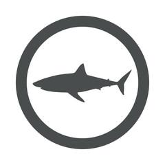 Icono plano tiburon blanco en circulo gris
