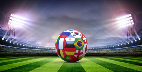 Soccer ball in the stadium