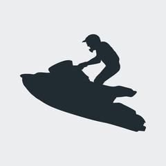Icono plano silueta moto acuatica en fondo gris