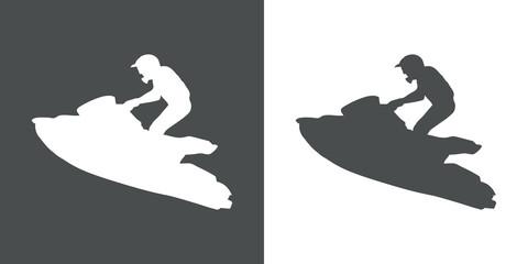 Icono plano silueta moto acuatica en gris y blanco