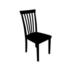 Icono plano silueta silla en color negro