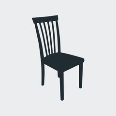Icono plano silueta silla en fondo gris