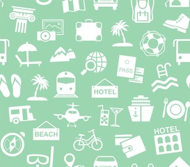 Travel, vacation, tourism, recreation, seamless pattern, monochrome, green, vector. Different types of recreation and ways to travel. White pictures on a green field. Vector, monochrome background.