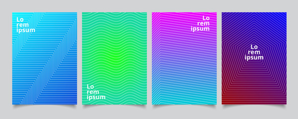 Set template minimal covers design, gradient colorful halftone with lines pattern background.