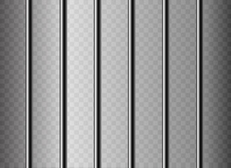 Realistic metal prison grilles. Isolated on a transparent background.Thuster machine, iron prison cell.metallic product.Vector ilustration.