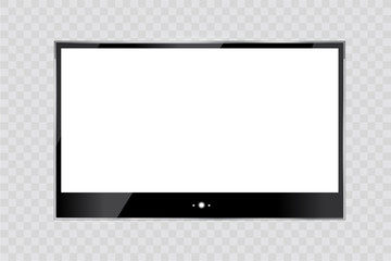 Frame of TV. Empty led monitor of computer or black photo frame isolated on a transparent background. Vector blank screen lcd, plasma, panel or TV for your design
