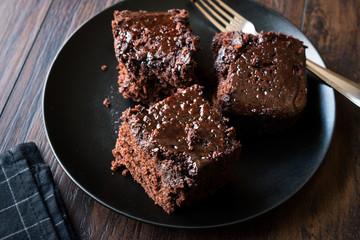 Moist Chocolate Sponge Cake Brownie Pieces in Black Plate