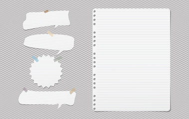 White lined note, notebook paper with speech bubbles for text stuck on grey squared background. Vector illustration.