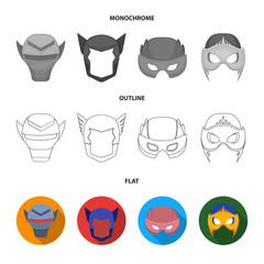 Helmet, mask on the head.Mask super hero set collection icons in flat,outline,monochrome style vector symbol stock illustration web.