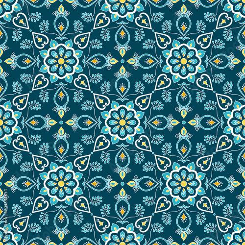 Italian Tile Pattern Vector Seamless With Flower Ornament Portuguese Azulejo Mexican Puebla Talavera