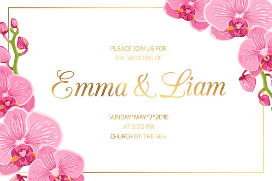 Wedding marriage event invitation card template. Horizontal landscape orientation rectangular border frame corners decorated with blooming bright pink purple orchid phalaenopsis flowers.