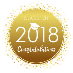 Graduating class of 2018 gold vector illustration. Class of 2018 design graphics for decoration with golden colored for design cards, invitations or banner