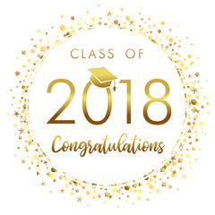 Graduating class of 2018 light vector illustration. Class of 2018 design graphics for decoration with golden colored for design cards, invitations or banner