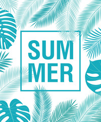 Summer background with hand drawn tropical leaves. Floral elements for your design. Vector illustration.