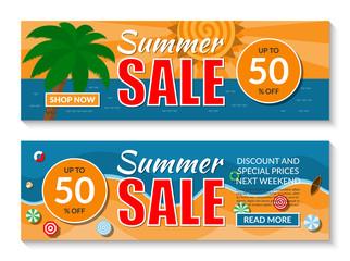 Set of summer sale banners set. Vector illustration.