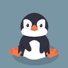 Cute little penguin vector