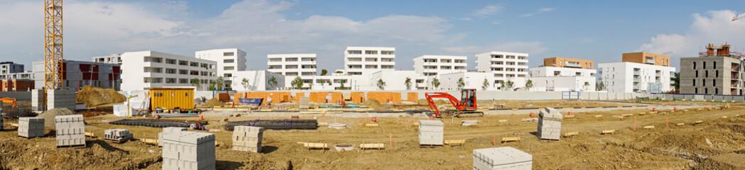 Panorama immeubles et habitat chantier bâtiment en construction