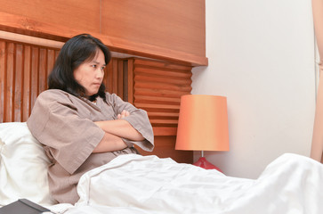 Angry wife waiting husband go back home in bedroom, Family issues