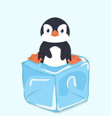 Cute Penguin on  ice cube