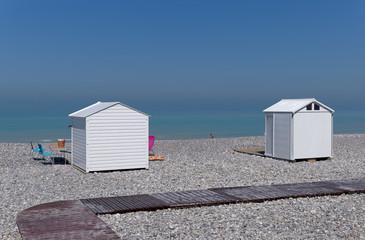 Mers-les_bains  pebble beach in Picardy coast