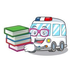 Student with book ambulance mascot cartoon style
