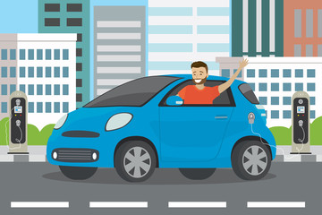 Happy cartoon caucasian male rides in blue electric car and electric charging stations