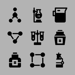 Icons Chemistry with experiment, atom, chemicals, test tubes and chemical