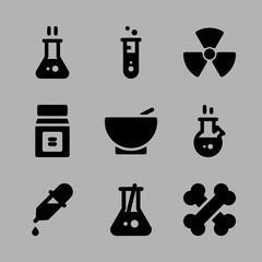 Icons Chemistry with radiation, dropper, hot flask, test tube and flask with spoon